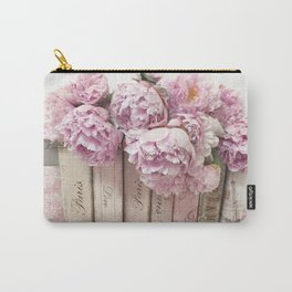 Shabby Chic Pink Peonies Paris Books Wall Art Print Home Decor Carry-All Pouch