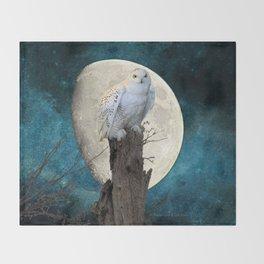White Snowy Owl Bird Moon Blue A141 Throw Blanket