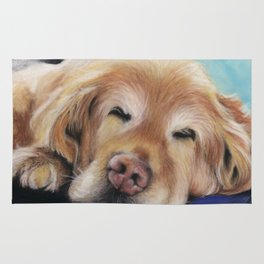 Sweet Sleeping Golden Retriever Puppy by annmariescreations Rug