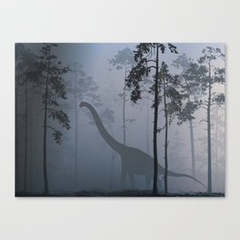 Dinosaur by Moonlight Canvas Print