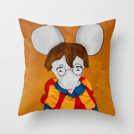 Morris the mouse wearing a scarf Throw Pillow