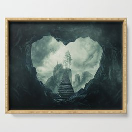 heart shaped dark cave Serving Tray