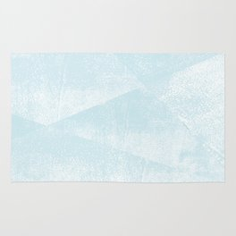 Light Blue and White Geometric Triangles Lino-Textured Print Rug