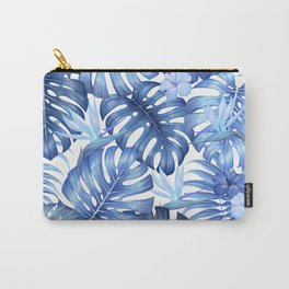 Blue tropical pattern  (monstera leaves and bird of paradise flowers Carry-All Pouch