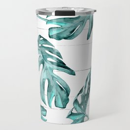 Turquoise Palm Leaves on White Wood Travel Mug