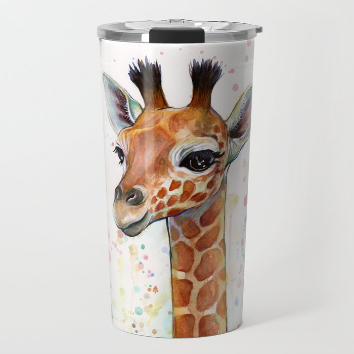 Giraffe Baby Animal Watercolor Whimsical Nursery Animals Travel Mug ...