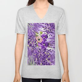 Lilac violet lavender lime green floral illustration Unisex V-Neck