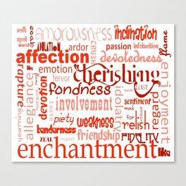 What Is Love Synonyms For Love Word Cloud Canvas Print