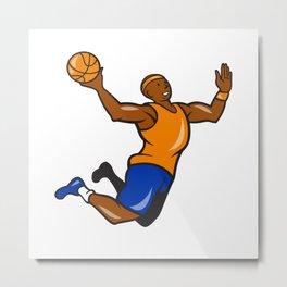 Basketball Player Dunking Ball Cartoon Metal Print