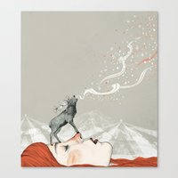 lady gaga Canvas Prints featuring Deer Lady! by Sandra Dieckmann
