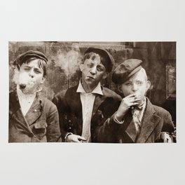 Newsboys Smoking - 1910 Child Labor Photo Rug