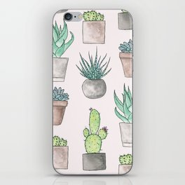 Succulent Watercolor Pattern iPhone Skin