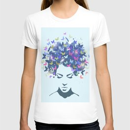 Woman with the hair made of butterflies T-shirt