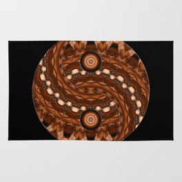 brown ying yang mandala Rug
