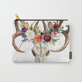 Geometric tribal floral bull skull Carry-All Pouch