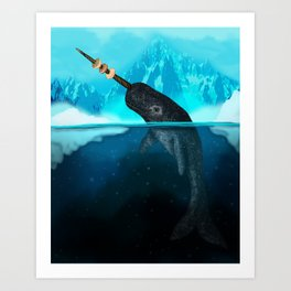 A Narwhal with his favorite Bagels Art Print