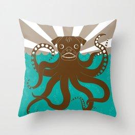 Octopug Throw Pillow
