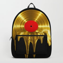 Melting vinyl GOLD / 3D render of gold vinyl record melting Backpack