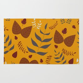 Autumn leaves and acorns - ochre and brown Rug