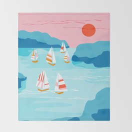 Tight - memphis throwback retro vintage classic sport boating yachting sailboat harbor sea ocean art Throw Blanket