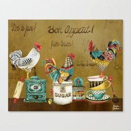 Roosters Majestic Canvas Print