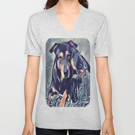 Black and Tan Coonhound Puppy Unisex V-Neck
