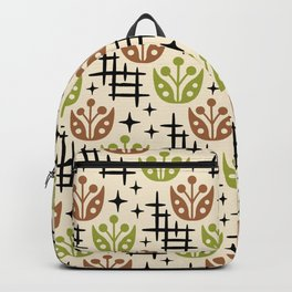 Mid Century Modern Space Flower Pattern Brown and Chartreuse Backpack