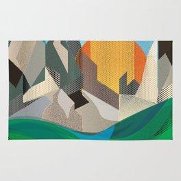 Retro style mountain range in the sun Rug