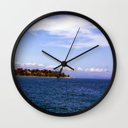 Lone Gull Over Lake Michigan Wall Clock