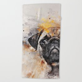 Pug Puppy Using Watercolor On Raw Canvas Beach Towel