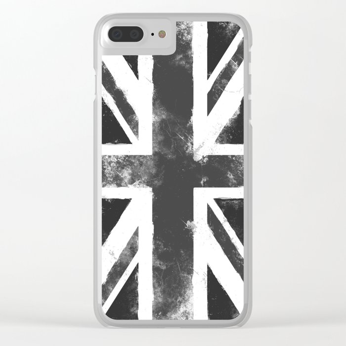 UK flag Grunge Black Clear iPhone Case