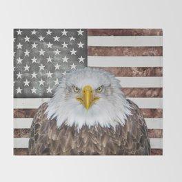 American Bald Eagle Patriot Throw Blanket