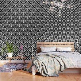 Scroll Damask Large Pattern White on Black Wallpaper
