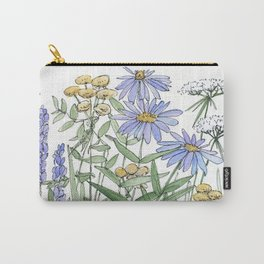Asters and Wild Flowers Botanical Nature Floral Carry-All Pouch