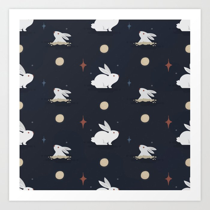 Bunnies on the Moon (Patterns Please) Art Print