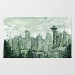 Seattle Skyline Watercolor Space Needle Emerald City 12th Man Art Rug