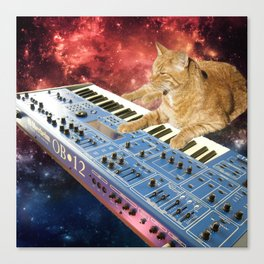 Space Cat with Synthesizer 1 Canvas Print
