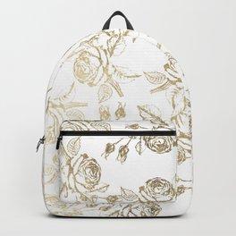 Vintage white faux gold roses floral Backpack