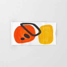Midcentury Modern Colorful Abstract Pop Art Space Age Fun Bright Orange Yellow Colors Minimalist Hand & Bath Towel