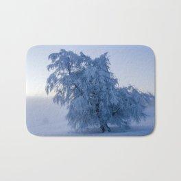 Snowy Tree on a Foggy Mountain Sunrise - Landscape Photography Bath Mat