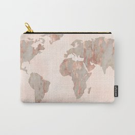 Rosegold Marble Map of the World Carry-All Pouch