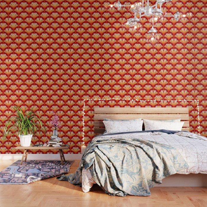 art deco lily mandarin orange and gold wallpaper