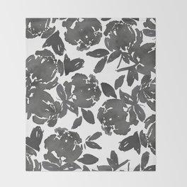 Grey Inky Watercolor Flowers Throw Blanket