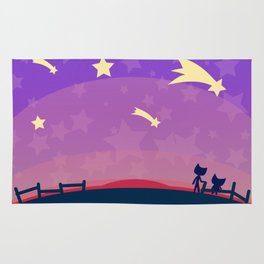 Starry sunset seen by cats Rug