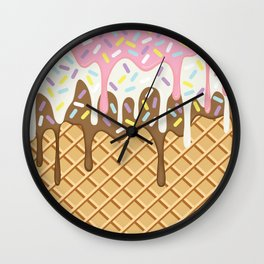 Neapolitan Ice Cream with Sprinkles Wall Clock