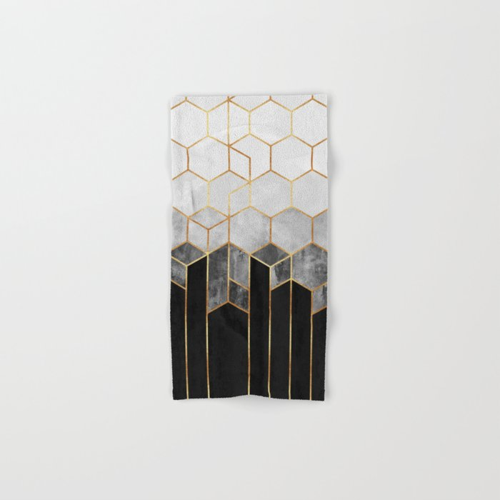 Charcoal Hexagons Hand & Bath Towel