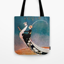 Art Deco White Peacock and Flapper Vintage Art Tote Bag