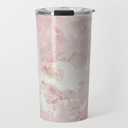 Vintage Floral Rose Roses painterly pattern in pink Travel Mug