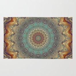 Indian Bohemian Flower Mandala Pattern, Gold Teal and Blue Rug