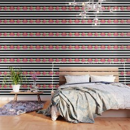 Stripe Black & White Horizontal and Watercolor Roses Wallpaper